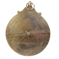 French Astrolabe of Engraved Brass Made in the 1950s