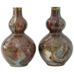 French Attributed Unusual Pair of Double Gourd Art Glass Vases, 19th Century
