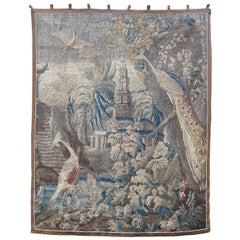 French Aubusson Chinoiserie Tapestry with Exotic Birds, circa 1750