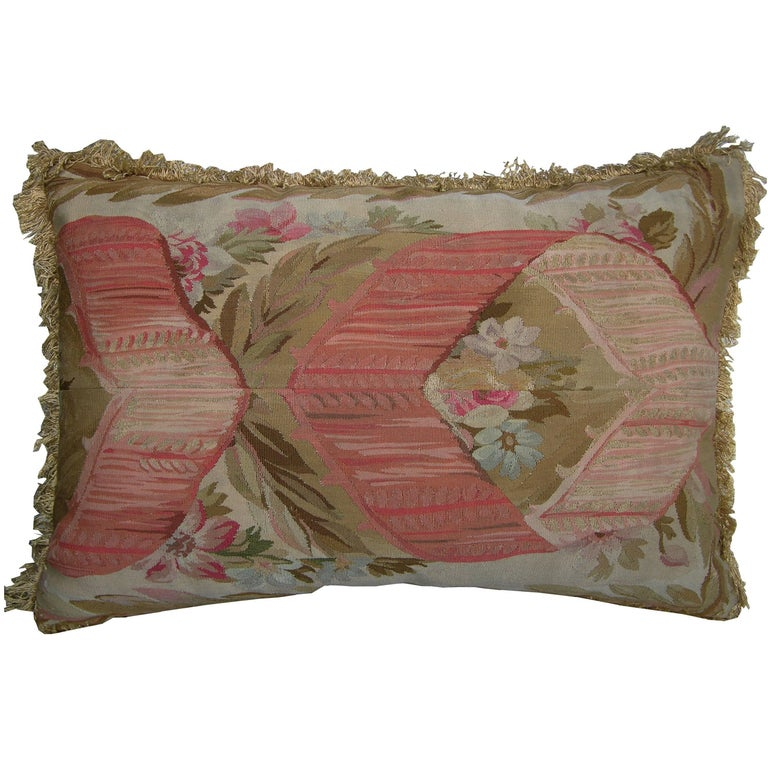 French Aubusson Pillow, circa 1860 1506p For Sale