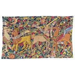 French Aubusson Style Jaquar Tapestry Medieval Design