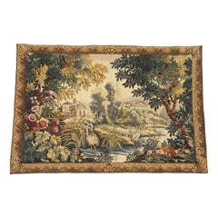 French Aubusson Style Tapestry with Castles, River, Ducks, and Foliage