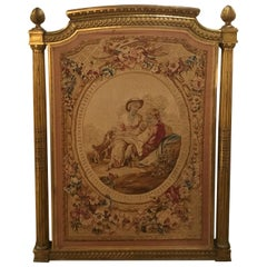 French Aubusson Tapestry in Giltwood Frame, 19th Century, with Garden Scene