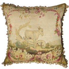 French Aubusson Tapestry Pillow, circa 1820 1284p