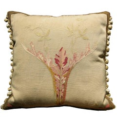French Aubusson Tapestry Pillow, circa 1860 1139p