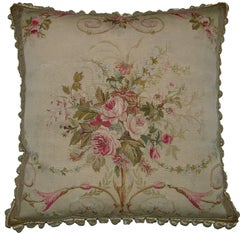 French Aubusson Tapestry Pillow, circa 1860