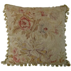 French Aubusson Tapestry Pillow, circa 1850 1404p