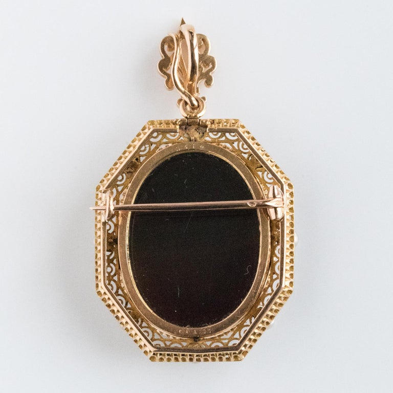 French Aucoc 19th Century Antique Cameo Natural Pearls Locket Pendant Brooch For Sale 13
