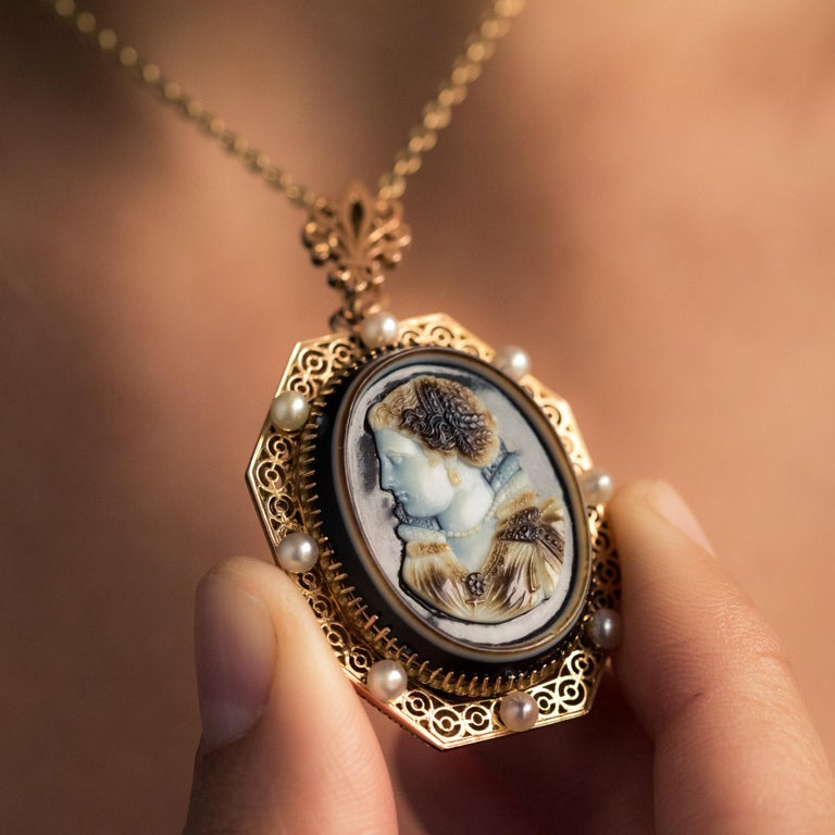 Women's French Aucoc 19th Century Antique Cameo Natural Pearls Locket Pendant Brooch For Sale