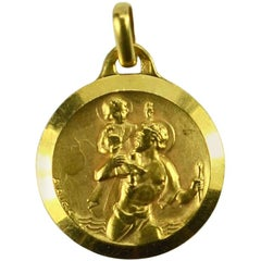 French Augis 18 Karat Yellow Gold St Christopher Charm Pendant Medal