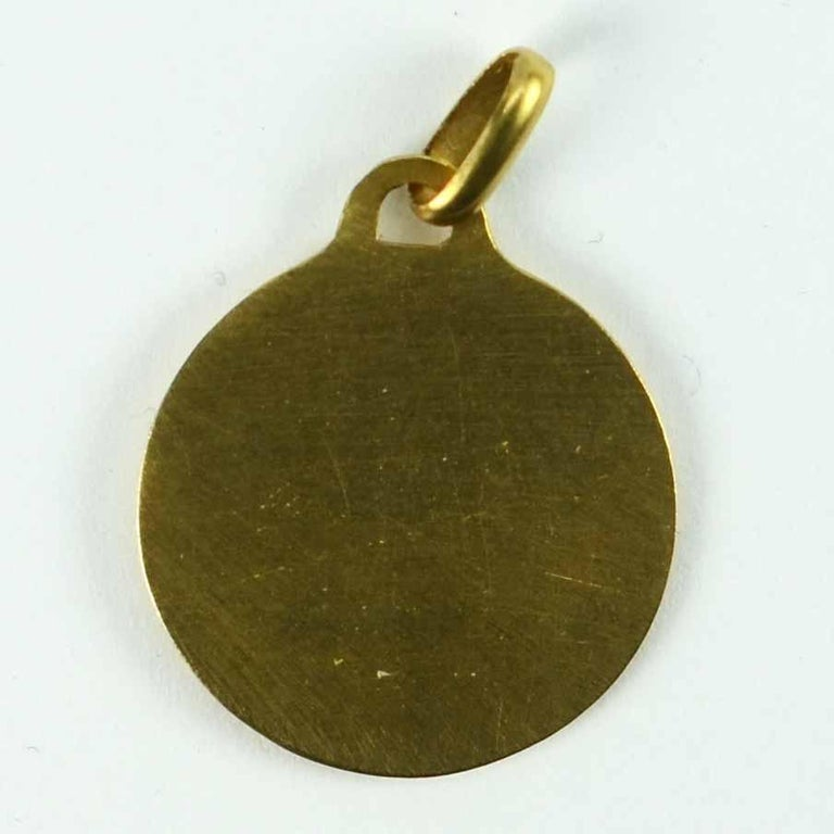 French Augis 18 Karat Yellow Gold St Christopher Charm Pendant Medal For Sale 4