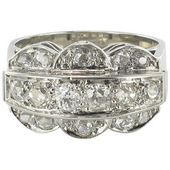 French Authentic Art Deco Platinum White Gold Diamond Ring