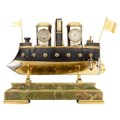 French Automaton Battleship Industrial Clock