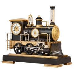French Automaton Industrial Locomotive Clock