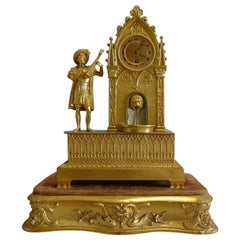 French Automaton Ormolu Clock in Gothic Style