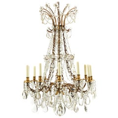 French Baccarat Style Cut Crystal Drop Twelve Light Chandelier, circa 1900