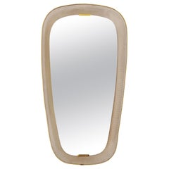 French Backlight Perforated Metal and Brass Oval Mirror
