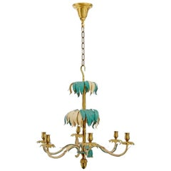 French Baguès Brass Palm Chandelier, 1960s