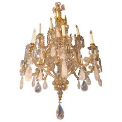 French Bagues Bronze Framed Rock Crystal Chandelier, circa 1880