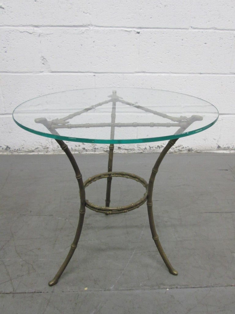 Directoire French Baguès Faux Bamboo Bronze Side Table For Sale