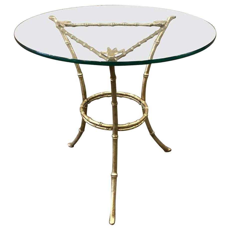 French Baguès Faux Bamboo Bronze Side Table