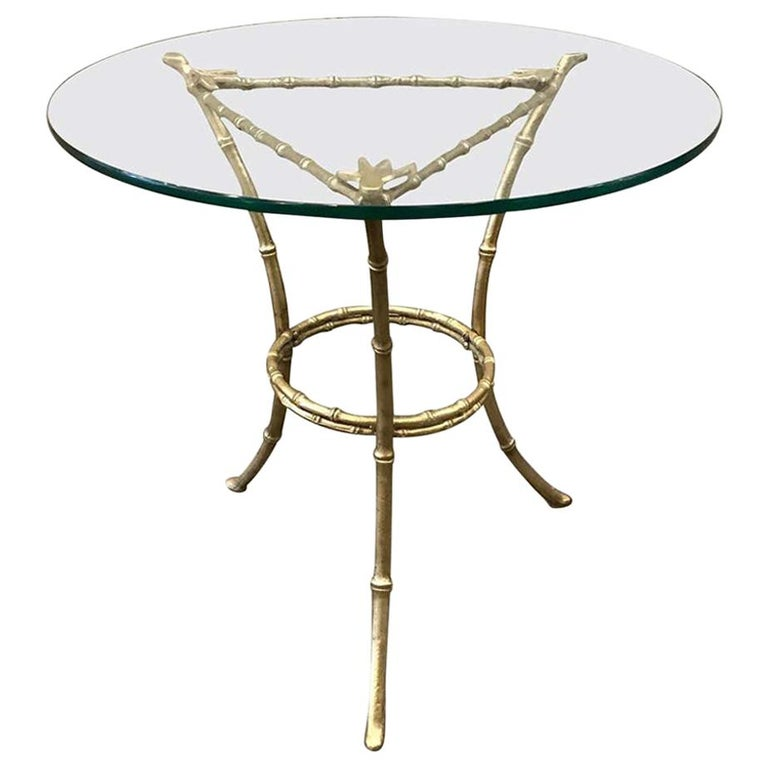 French Baguès Faux Bamboo Bronze Side Table For Sale
