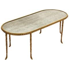 French Baguès Mirrored Top Coffee Table, circa 1950
