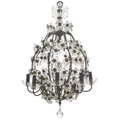 French Bagues Style 8-Light Glass Flower Chandelier, circa 1950