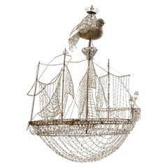 French Baguès Style Glass Beaded Chandelier in Form of a Ship, circa 1950