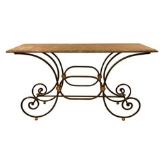 French Baker's Bistro Style Marble-Top Console