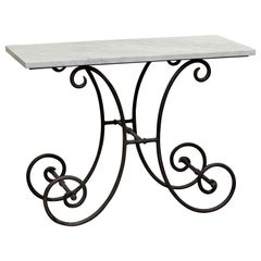 French Baker's Table with Carrara Marble Top and Wrought Iron Base