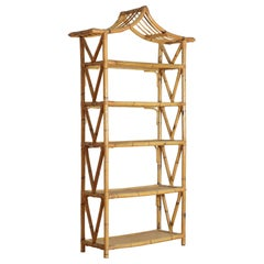 French Bamboo and Rattan 5-Tier Étagère with Pagoda Top, Mid-20th Century