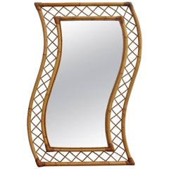 French Bamboo and Rattan Mirror, circa 1950s