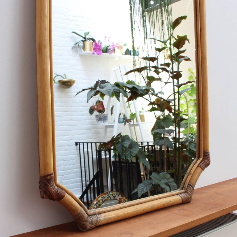 Mid-20th Century French Bamboo and Rattan Wall Mirror, circa 1960s For Sale