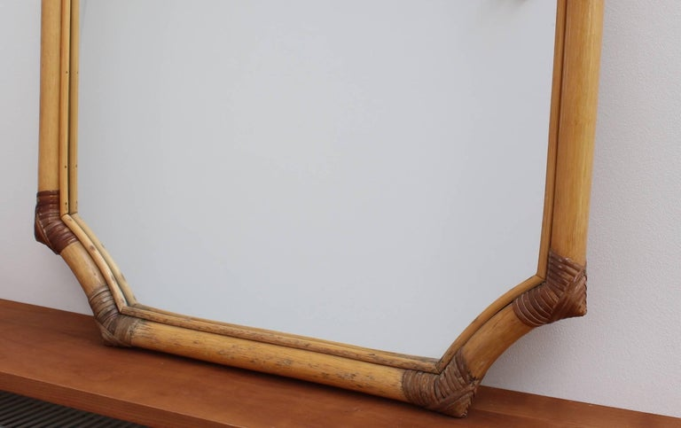 French Bamboo and Rattan Wall Mirror, circa 1960s For Sale 3