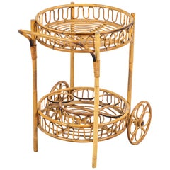 French Bamboo Bar Cart
