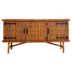 French Bamboo Credenza by Audoux y Minet
