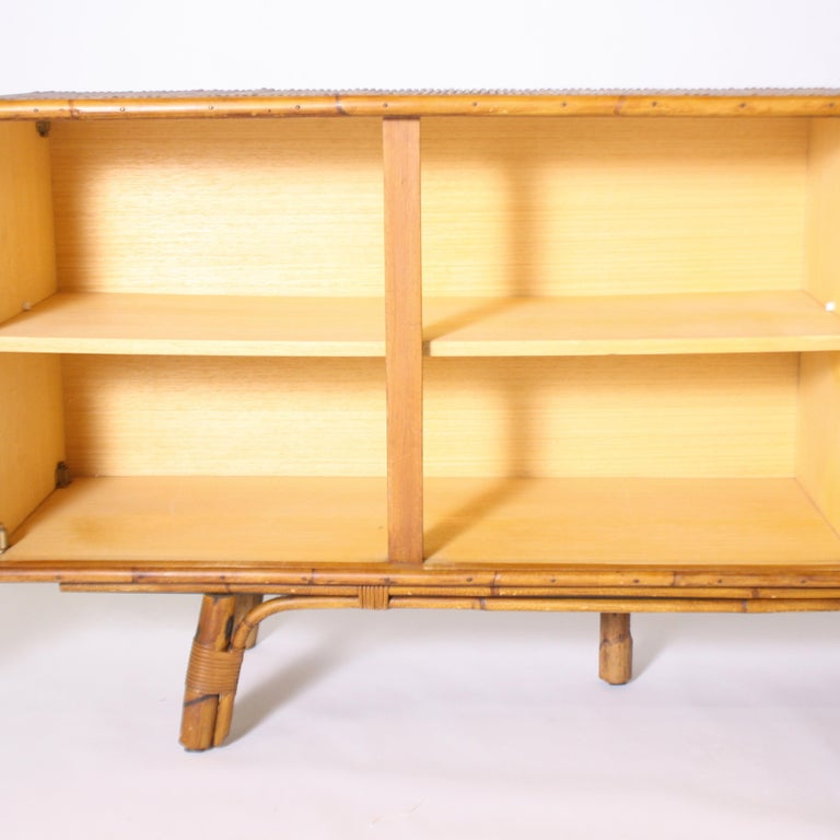 Mid-20th Century French Bamboo Credenza, circa 1950 For Sale