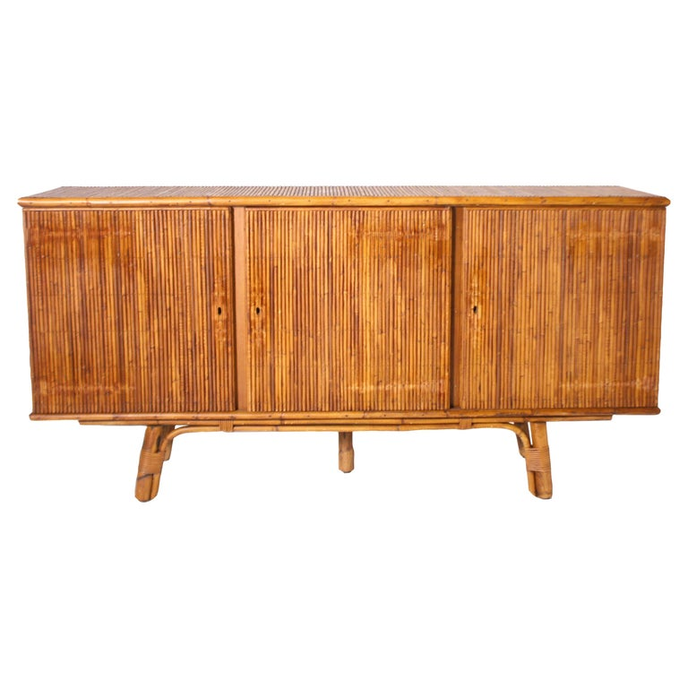 French Bamboo Credenza, circa 1950 For Sale