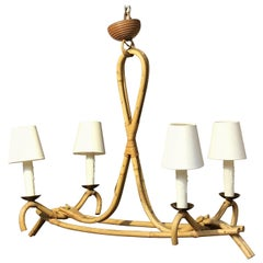 French Bamboo Four-Light Hanging Fixture or Chandelier 'Louis Sognot'