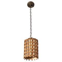French Bamboo Lantern Pendant with Illuminated Cream Paper