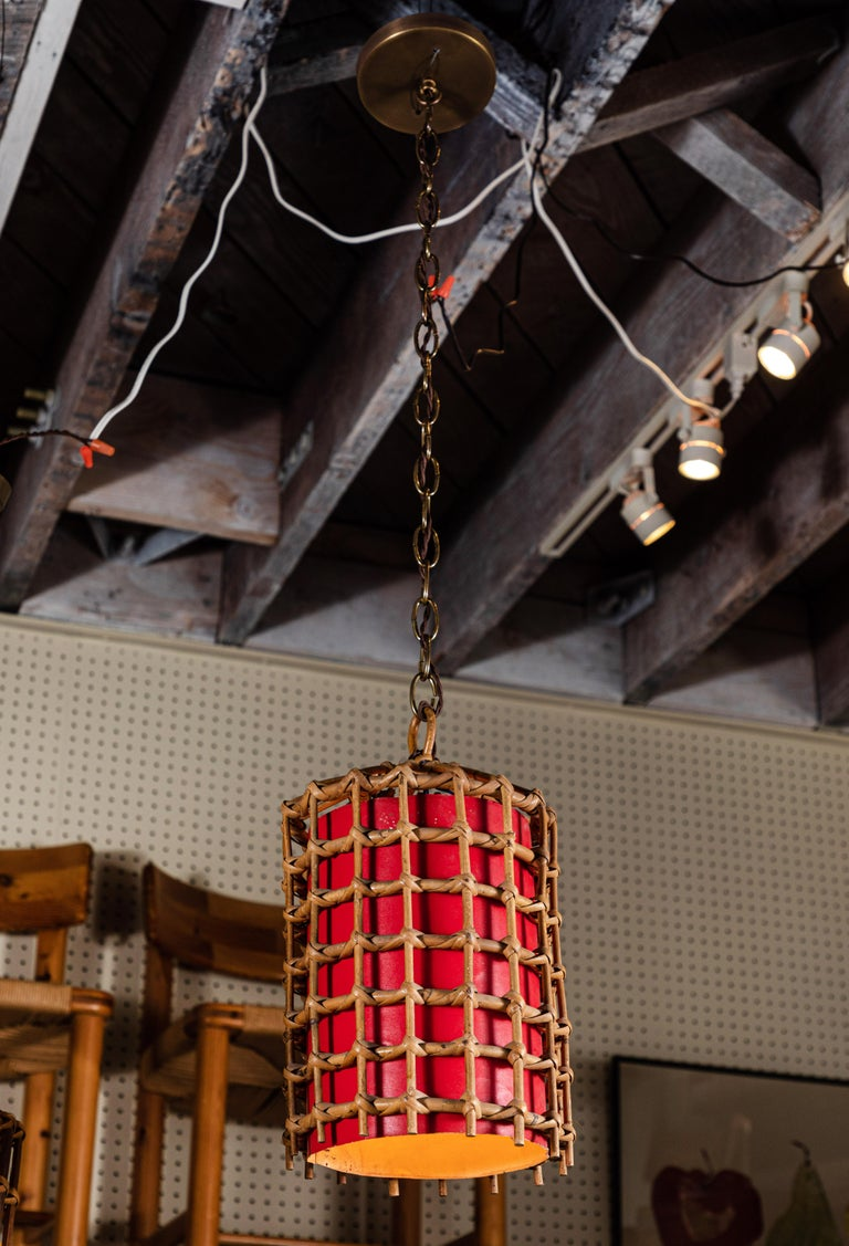 20th Century French Bamboo Lantern Pendant with Red Illuminated Paper For Sale