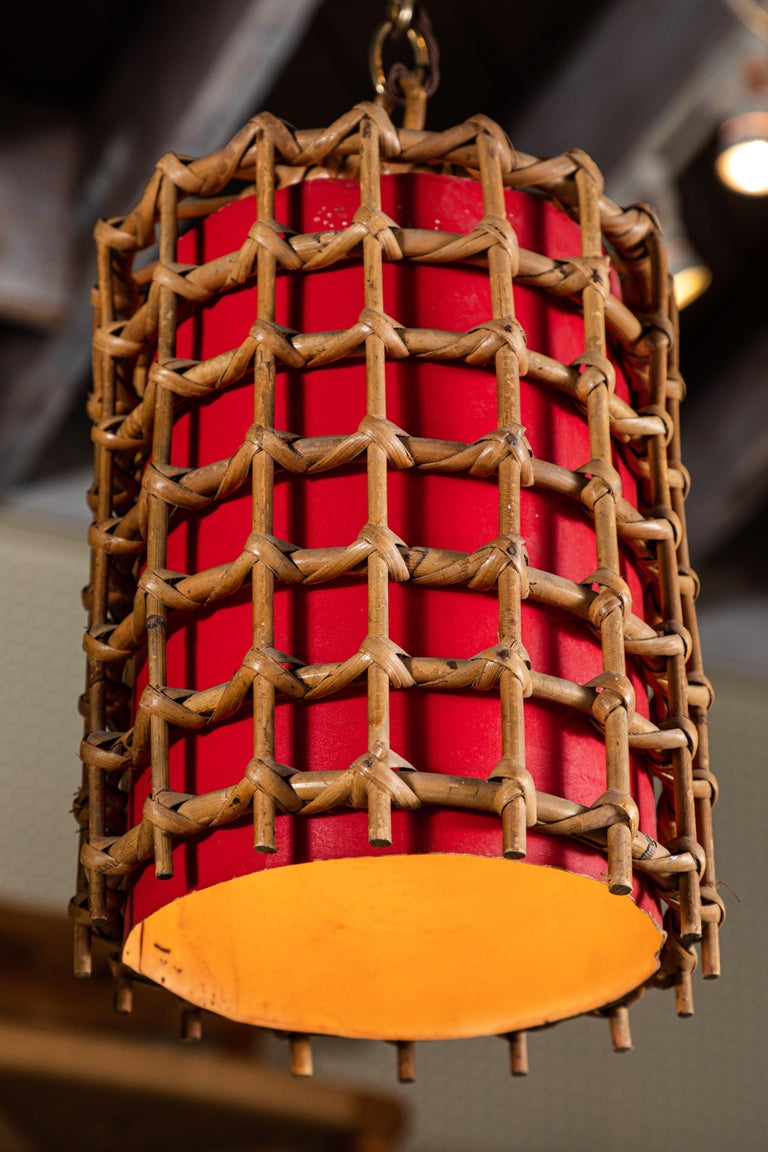 French Bamboo Lantern Pendant with Red Illuminated Paper For Sale 1