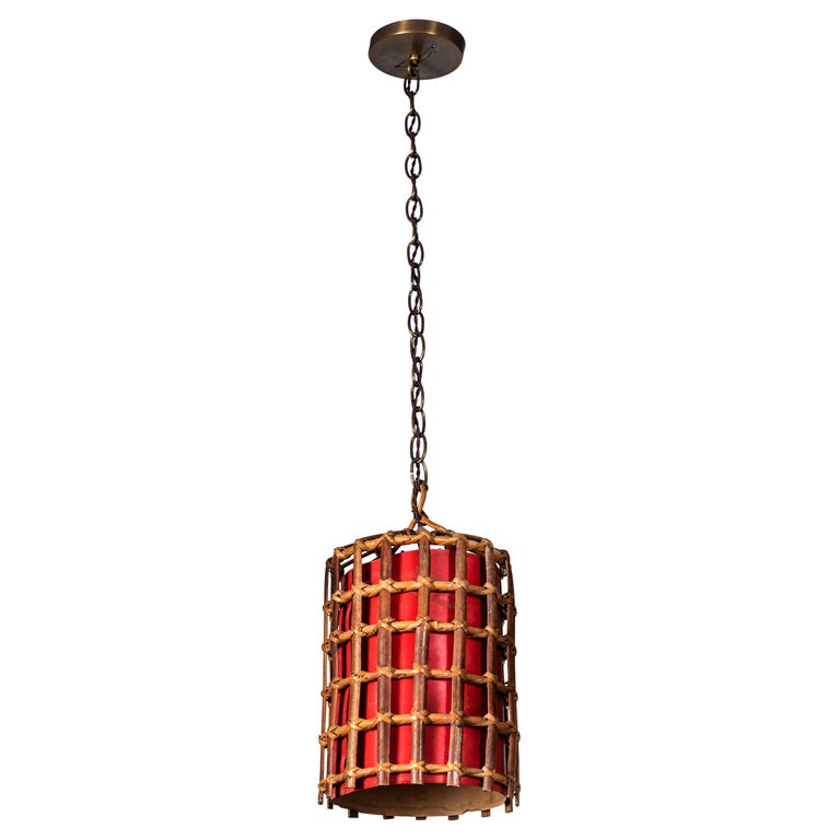 French Bamboo Lantern Pendant with Red Illuminated Paper For Sale