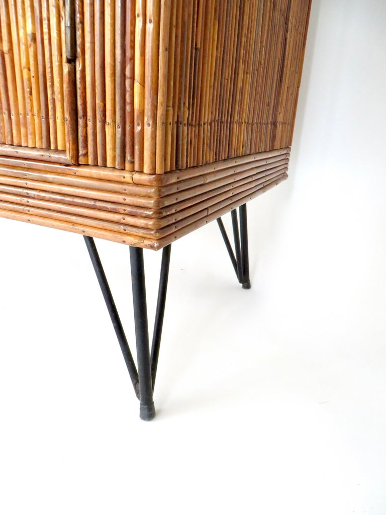 French Bamboo or Split Reed Grass Cloth Topped Four-Door Buffet on Iron Legs For Sale 6