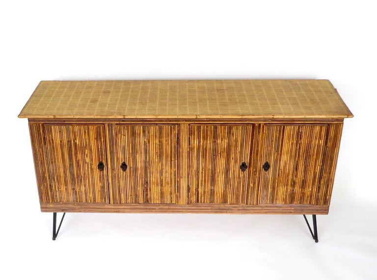 Mid-Century Modern French Bamboo or Split Reed Grass Cloth Topped Four-Door Buffet on Iron Legs For Sale