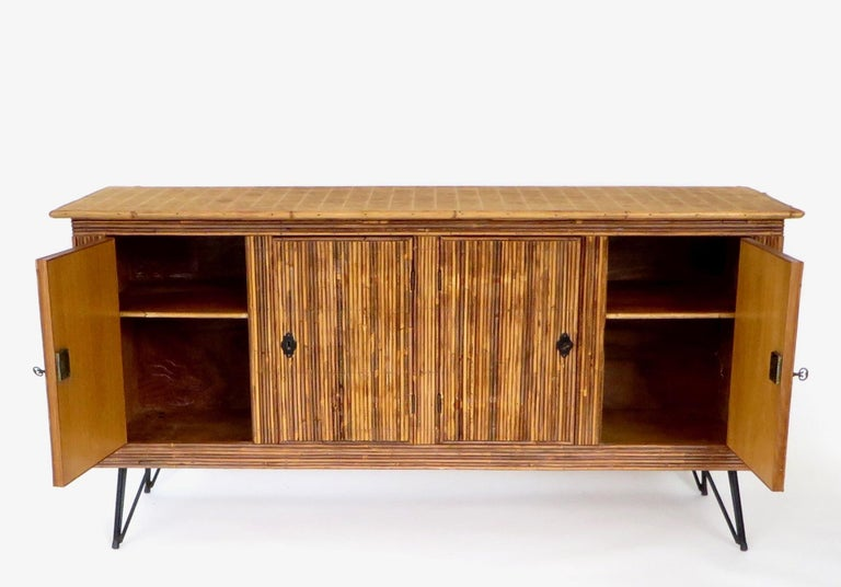 French Bamboo or Split Reed Grass Cloth Topped Four-Door Buffet on Iron Legs For Sale 1