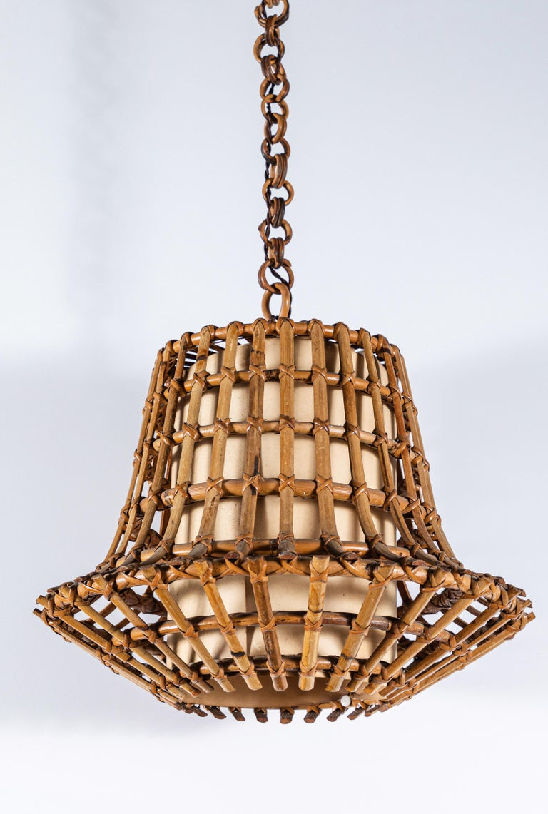 French Bamboo Pendant with Cream Illuminated Paper In Good Condition In Los Angeles, CA
