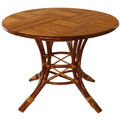 French Bamboo Round Table with Leaf, circa 1960