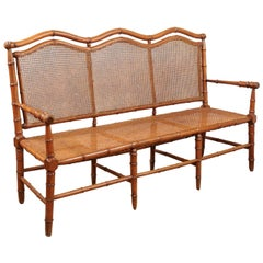 French Bamboo Style Beechwood Caned Bench, circa 1880